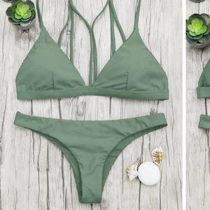 ZAFUL Strappy Green Bikini